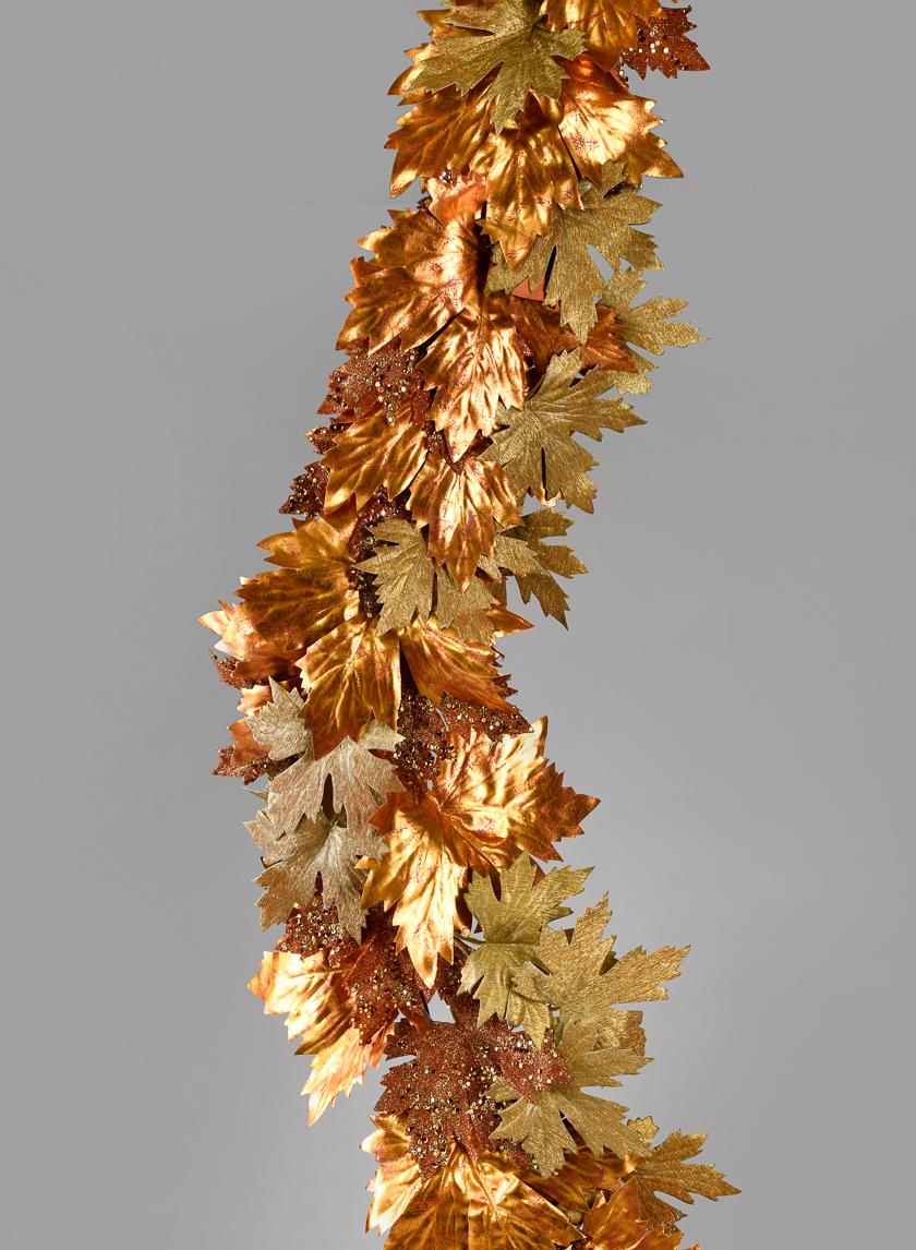 6ft Glittered Copper & Gold Maple Leaf Garland