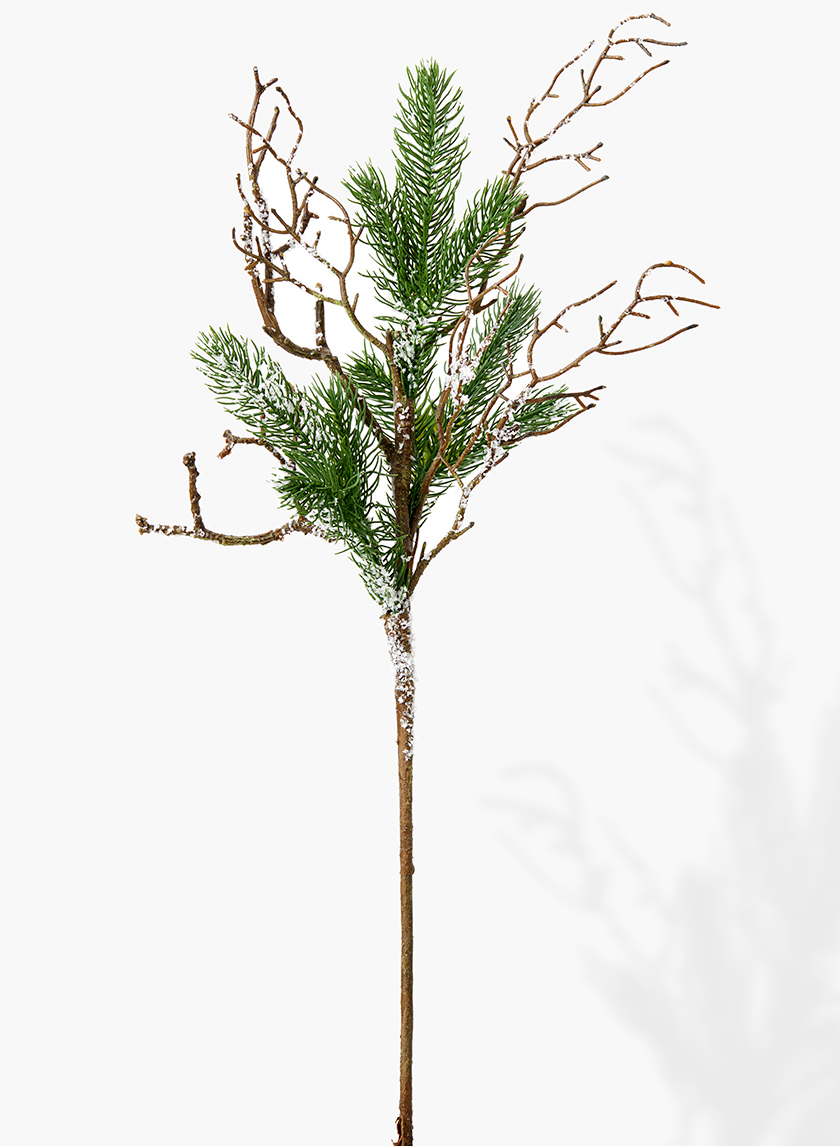 28in Iced Pine Branch