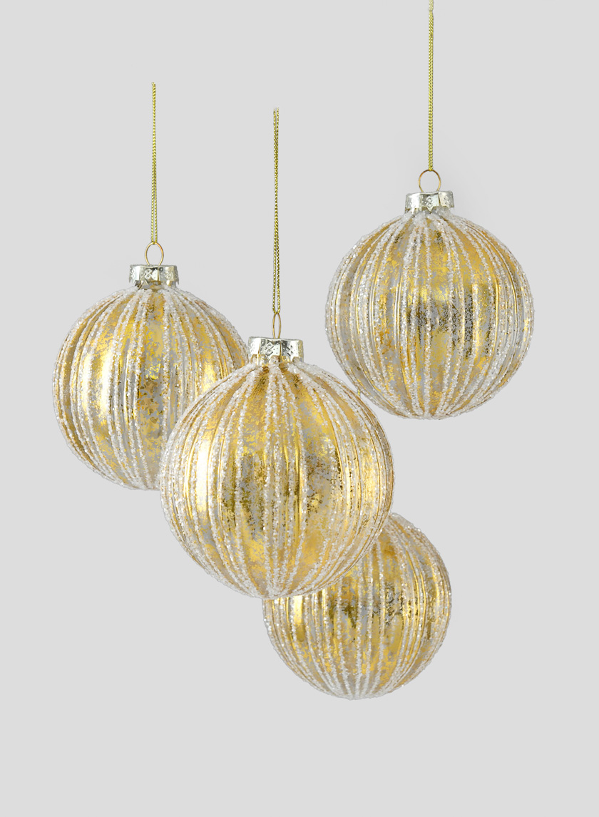 4in Gold Foil & Glitter Stripe Glass Ornament Ball, Set of 4