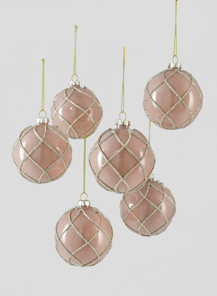 3in Glitter Swirl Pink Glass Ornament Ball, Set of 6