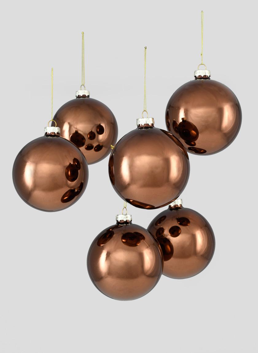 4in Shiny Copper Glass Ball Ornament, Set of 6