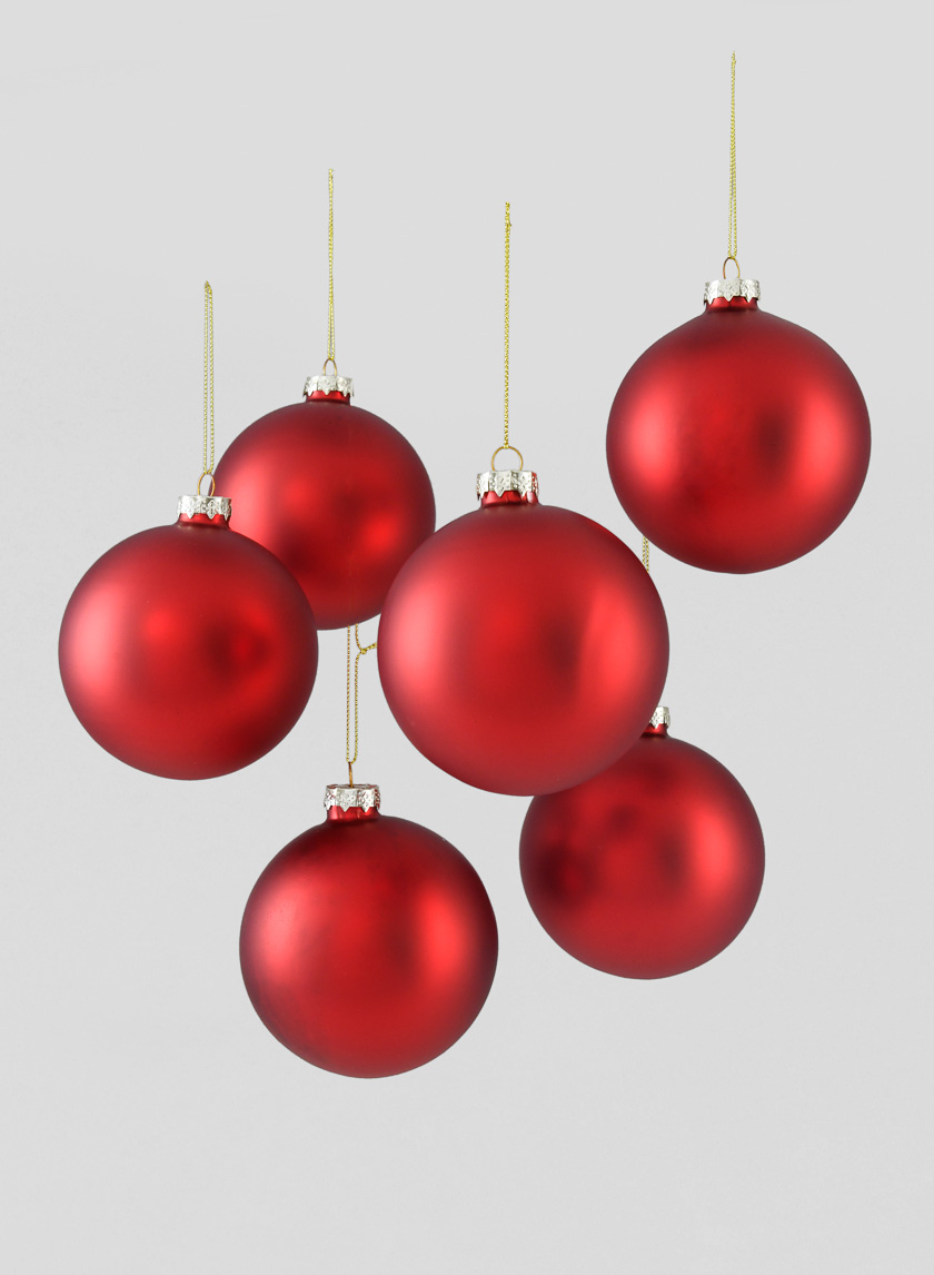 4in Matte Red Glass Ball Ornament, Set of 6