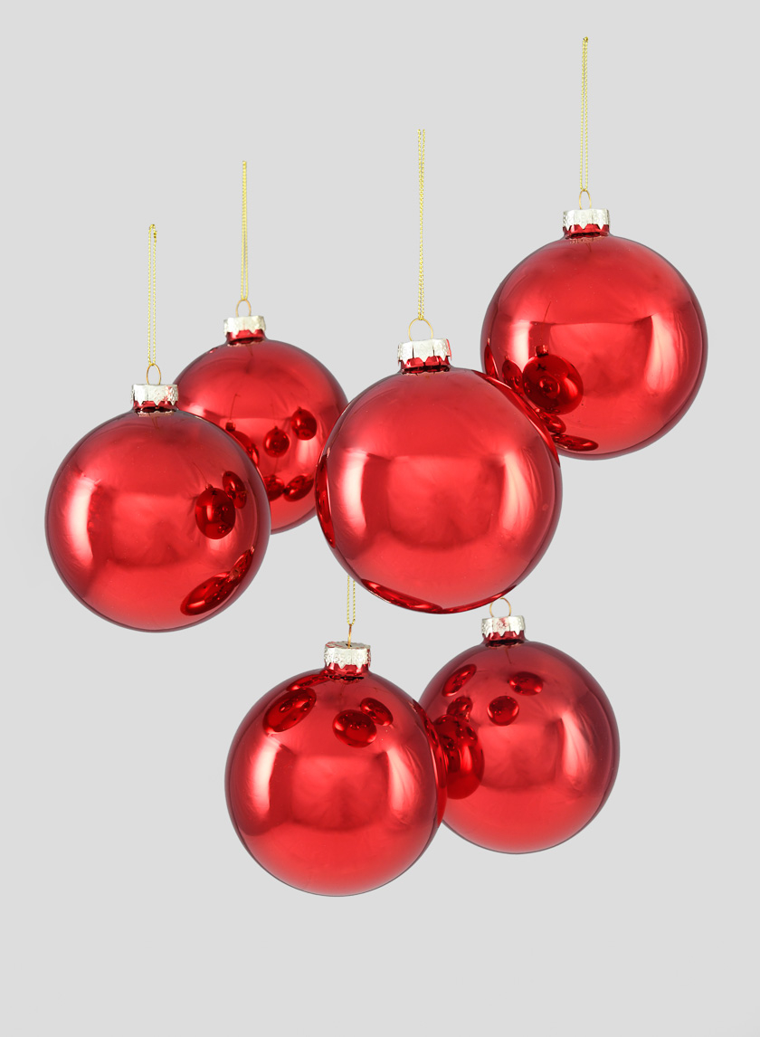 4in Shiny Red Glass Ball Ornament, Set of 6