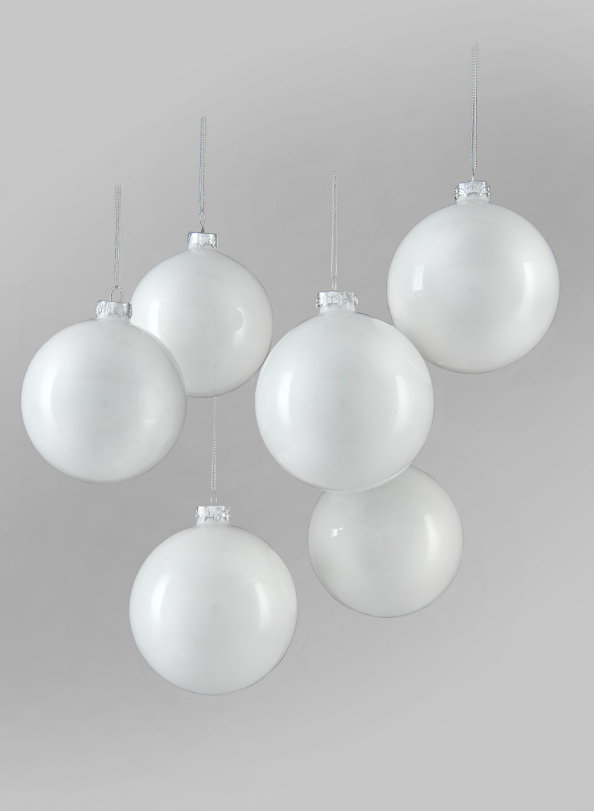 4in Shiny White Glass Ball Ornament, Set of 6