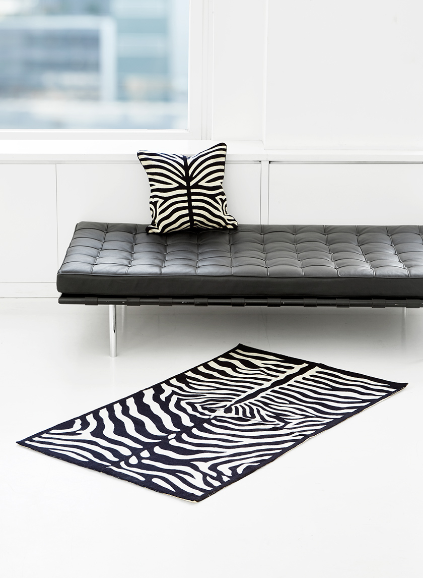 wool animal pattern pillow and rug