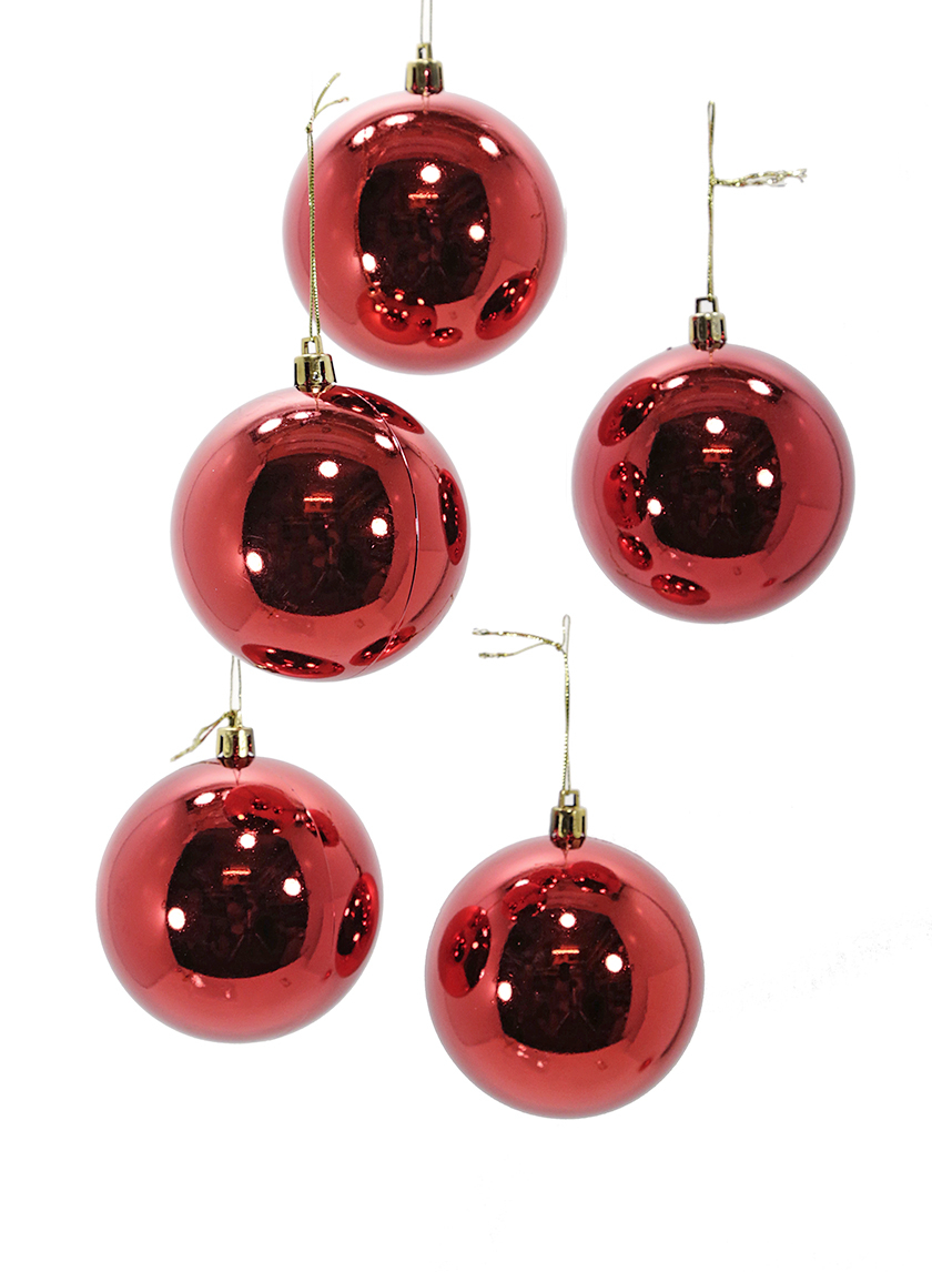 3 1/8in (80mm) Shiny Red Plastic Ornament Balls, Set of 6