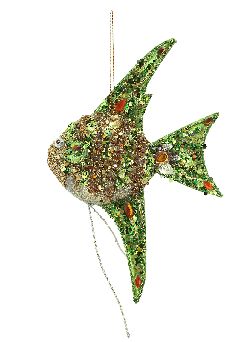 GREEN & GOLD FISH ORNAMENT
