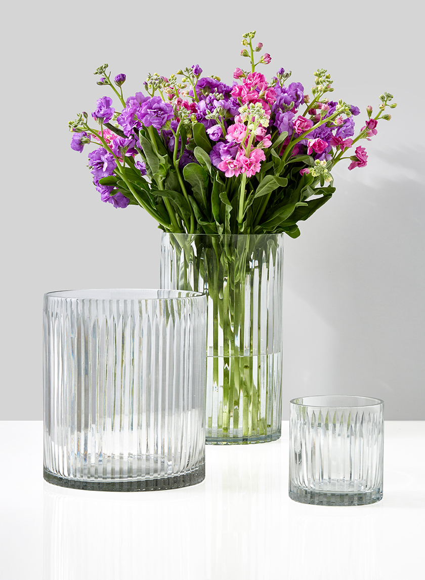 Arrow Stripe Etched Glass Vases