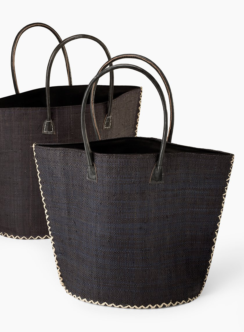 Black Raffia Trapezoid Bag
