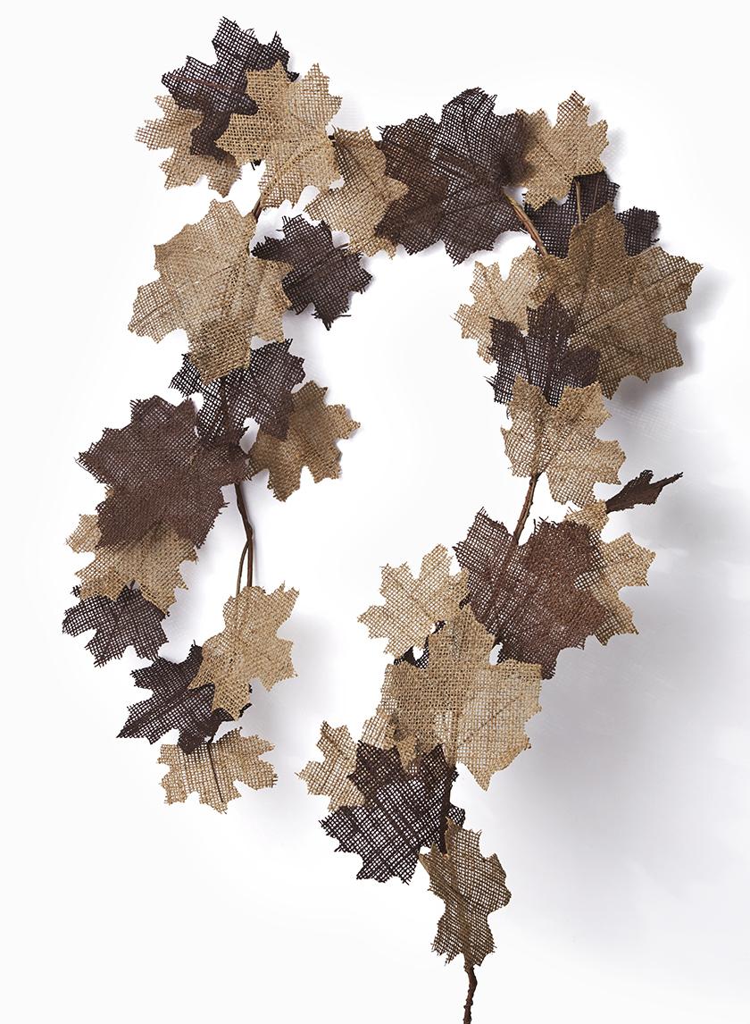 5ft Natural Brown Burlap Maple Garland