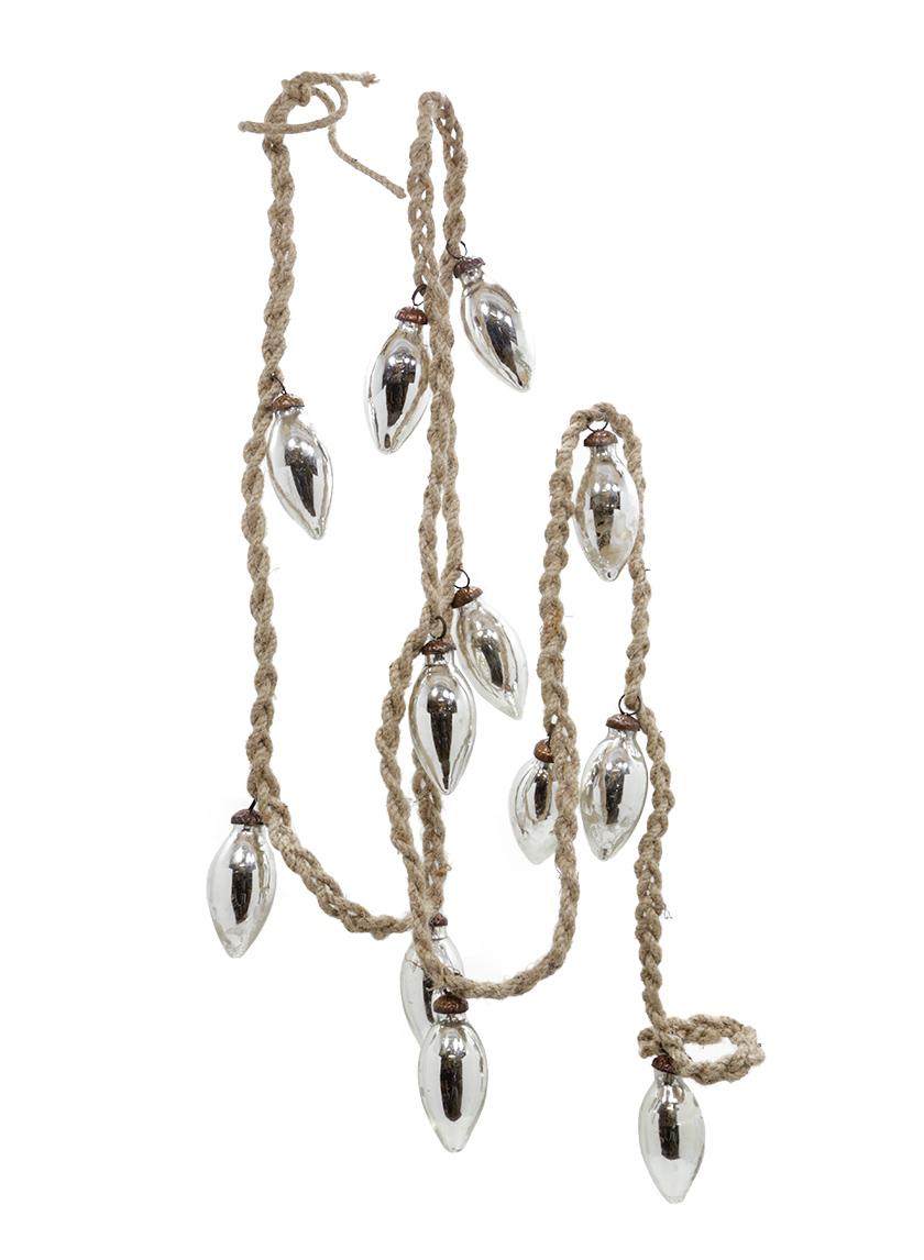 6 1/2ft Mini Silver Mercury C7 Ornament Bulb Rope Garland