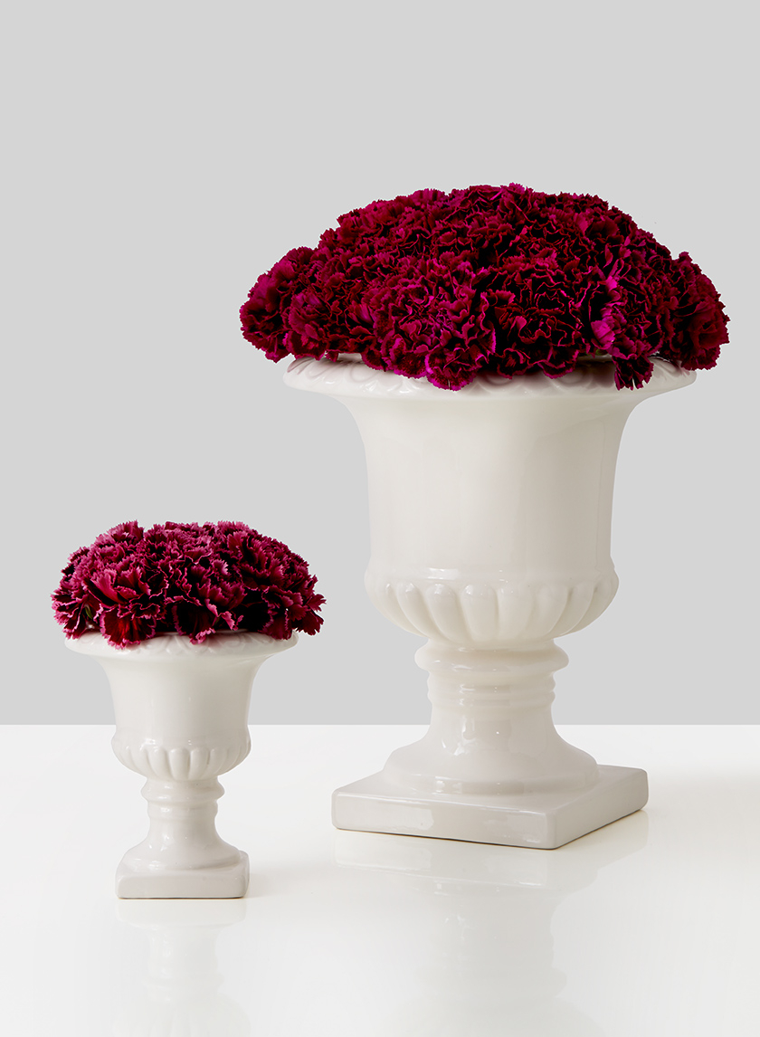 5in & 10in White Ceramic Urns