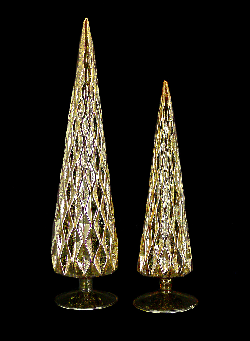 13in & 14 1/2in Gold Diamond Glass Christmas Tree