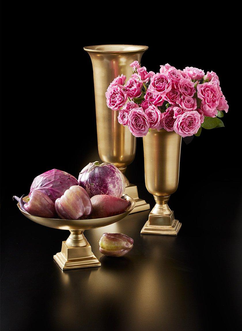 Gold Pedestal Bowl & Urn Vases