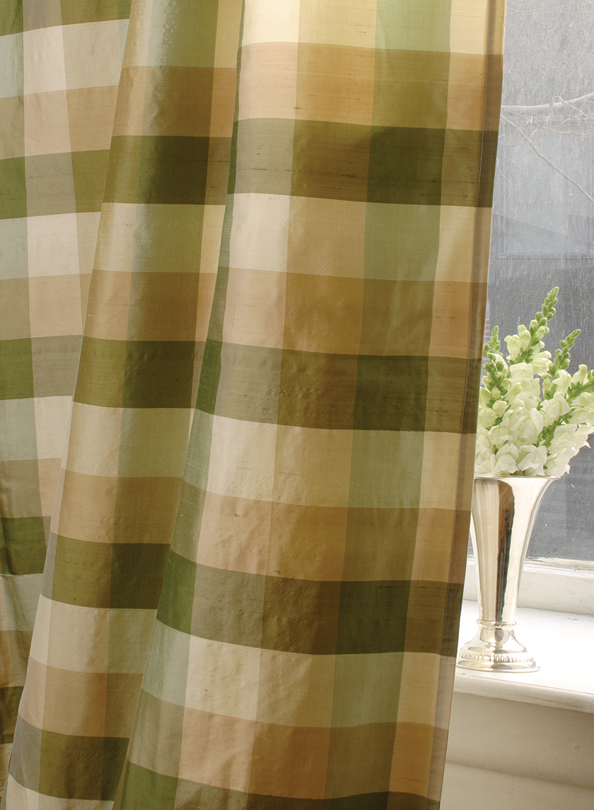 green checks silk curtain 010G06