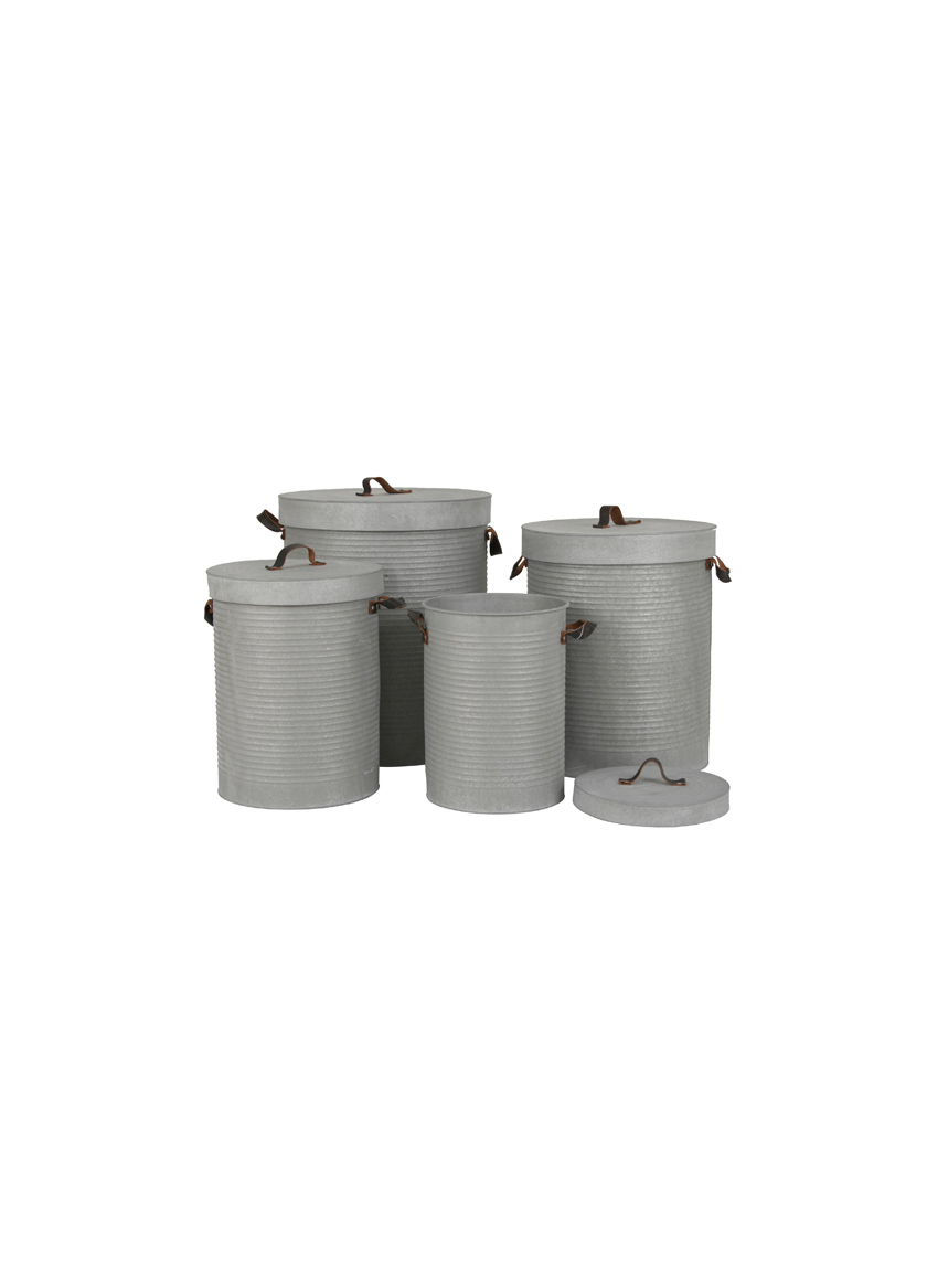 Ribbed Grey Zinc Can With Lid & Leather Handles