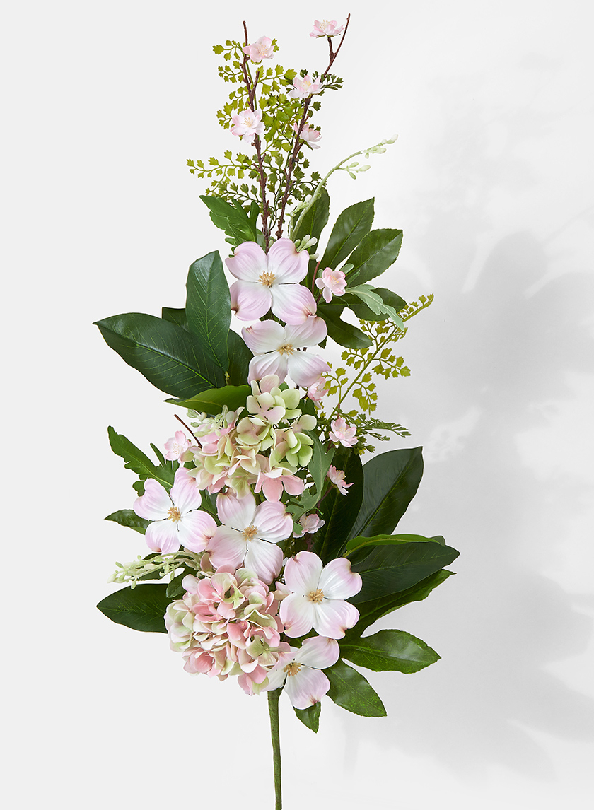 pink hydrangea dogwood magnolia silk flower bouquet