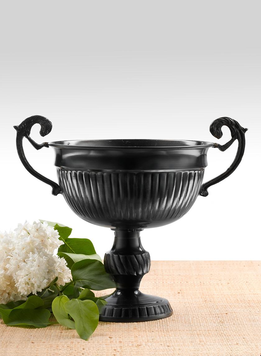 Antique Black Lion Handle Urn