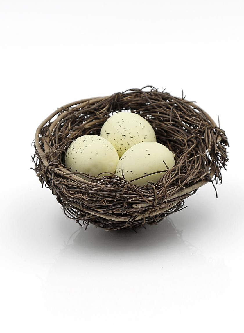 4 1/4in Rattan Bird's Nest With Eggs