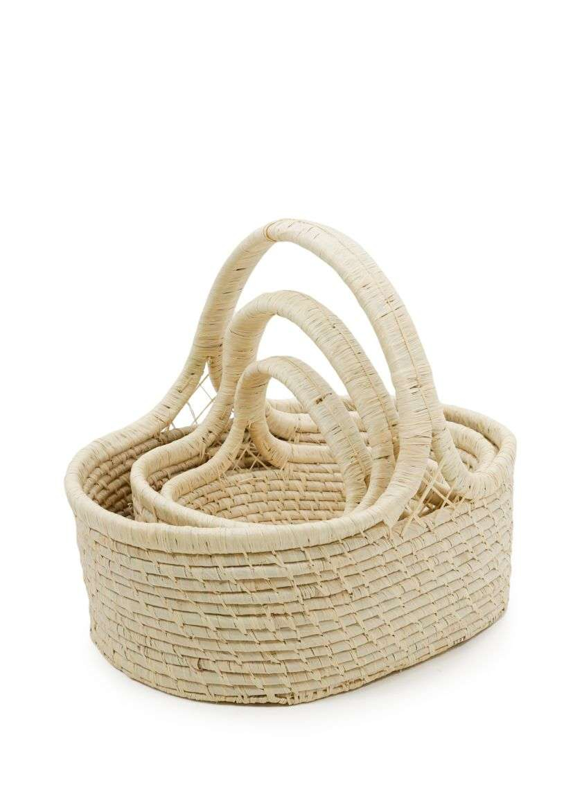 natural raffia oval basket