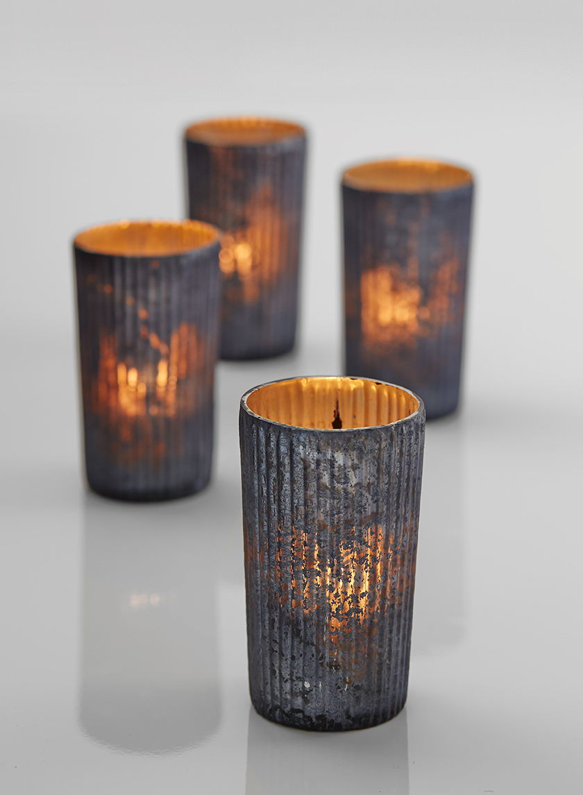 platinum ribbed mercury glass votive candle holders