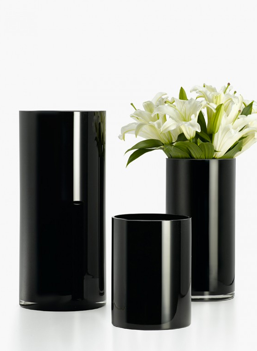 6x8-, 6x12-, & 7x16-inch Black Glass Cylinder Vases
