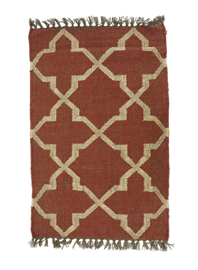 3ft & 6ft Red & Natural Moor Wool & Jute Rugs