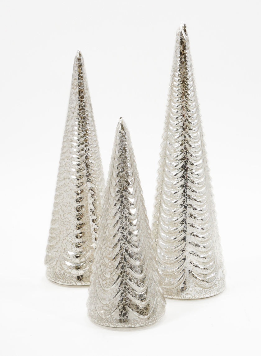 Silver Mercury Glass Table Christmas Trees