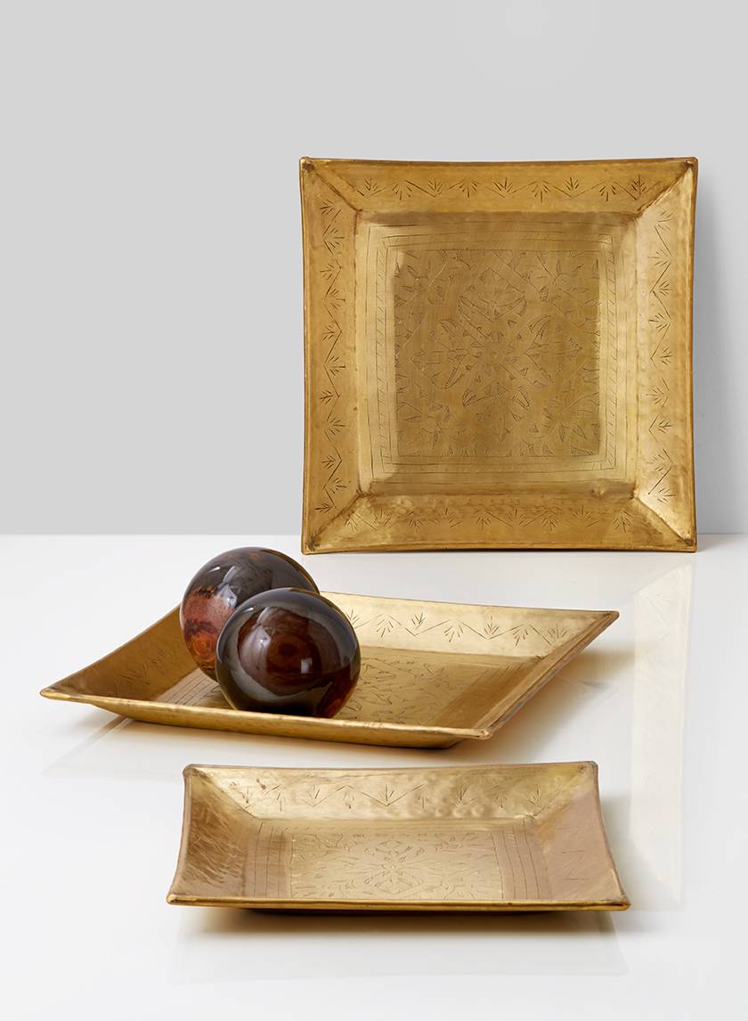 10in & 12 1/2in Square Antique Brass Trays