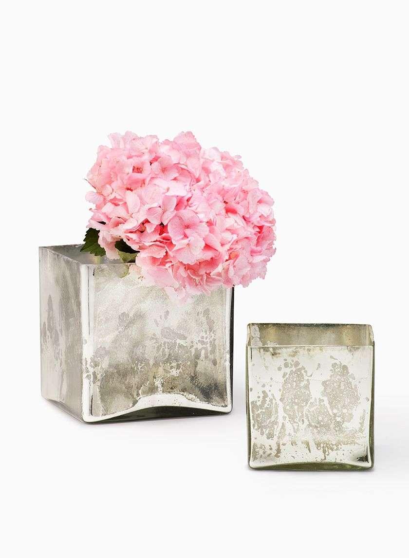 Antique Silver Glass Square Vases