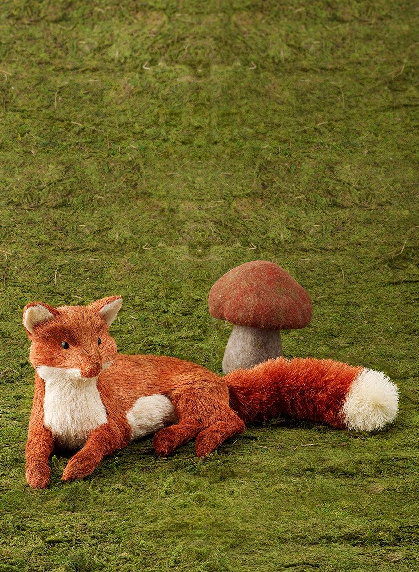 Straw Fox & Felt Mushroom