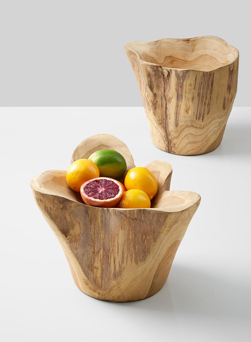 teak wood bowl with lemons limes blood oranges