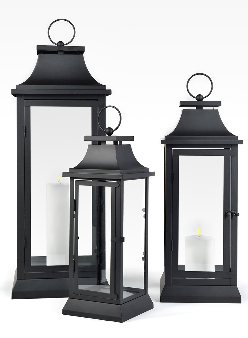 15in, 20in, & 25in Black Hampton Lanterns