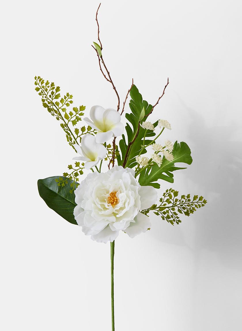 white plumeria peony fern bouquet