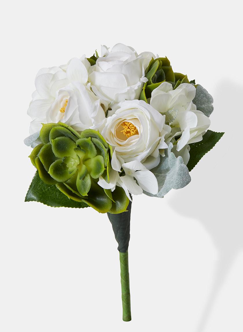 white rose echeveria dusty miller wedding bouquet