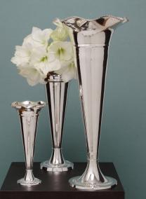 24in Silver Trumpet Vase