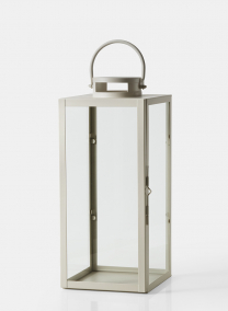 19in antique white square lantern