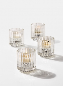 Pleated Glass Tea Light Holder, Set of 4