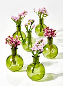4in Green Ball Bud Vase, Set of 6