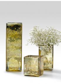 4 1/2in Sq x 4in H Antique Light Gold Square Vase