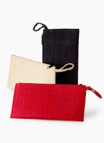 Black, Red, & Natural Raffia Clutches