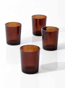 dark amber glass tealight and votive holder