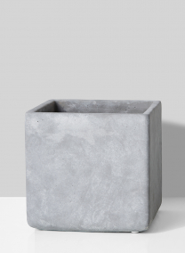 large grey cement square vase