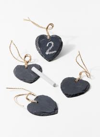 Heart Shaped Slate Name Tags With 2 Chalk Sticks, Set of 4