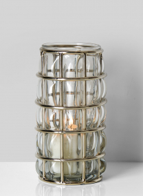 silver metal blown glass candleholder