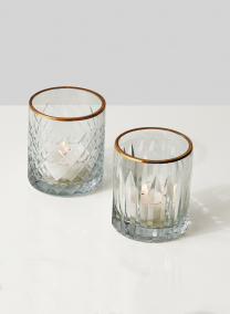 Etched Glass Votive Holders With Gold Rims