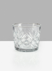 5 X 4 1/2in Diamond Cut Glass Round Vase