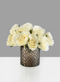5in H Diamond Cut Dark Amber Glass Vase