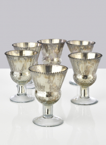 4 3/4in Antique Silver Coupe, Set of 6
