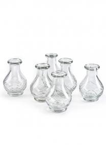 4in H Cut Work Clear Glass Bottle Vase, Set of 6